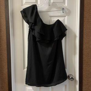 DO+BE One Shoulder Black Ruffle Mini Dress Size M